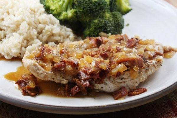 Chicken with Cider and Bacon Sauce from RecipeGirl