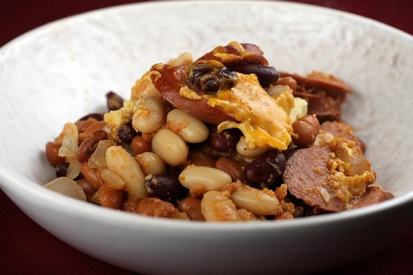 Three-Bean And Sausage Bake Recipe — Dishmaps