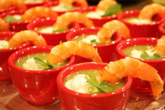 Chilled Zucchini Soup with Lemon- Cumin Shrimp & Cilantro Cream